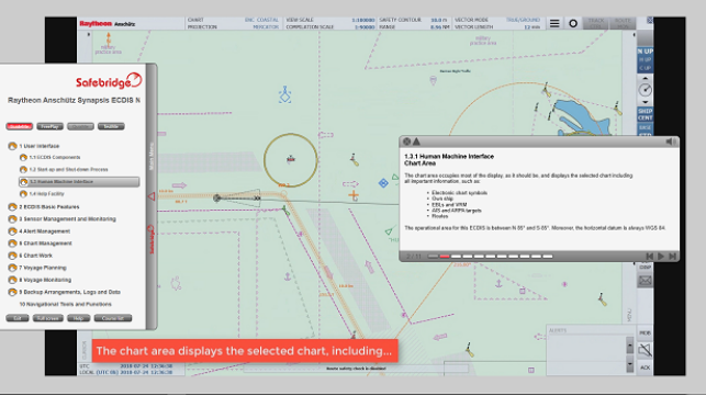 GuideMe mode with detailed explanations of each ECDIS function.