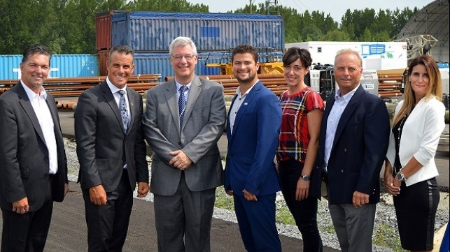 From left to right: Guy Leclair, Beauharnois MP, Stephane Billette Huntingdon MP, Jean-Philippe Paquin, general manager of the Société du port de Valleyfield, Miguel Lemieux, mayor of Salaberry-de-Valleyfield, Geneviéve Fortier, Vice-President of the Board, Société du port de Valleyfield, Roland Czech, President of the Board, Société du port de Valleyfield, and Isabelle Viau, Operations Director, Société du port de Valleyfield.