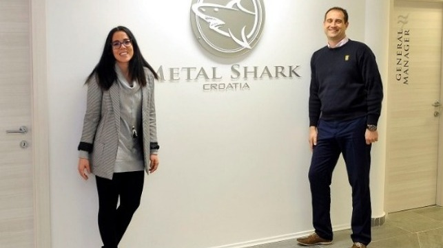 Managing Director Teuta Duletic (left) and Technical Manager Drazen Debelic at Metal Shark Croatia.