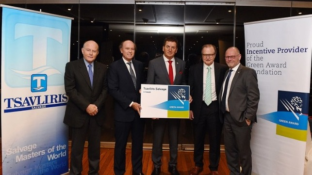 L to R: Nicolas Tsavliris, Andreas Tsavliris (Principal, Tsavliris Salvage),  Dimitrios Mattheou (Chairman,  Green Award Foundation), George Tsavliris (Principal, Tsavliris Salvage), Jan Fransen (Executive Director, Green Award Foundation)