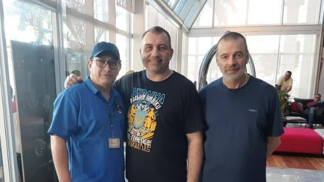 (L-R) Sailors' Society chaplain Ailton De Souza with Oleksandr Maphenko and Mirko Seman following their release from hospital.