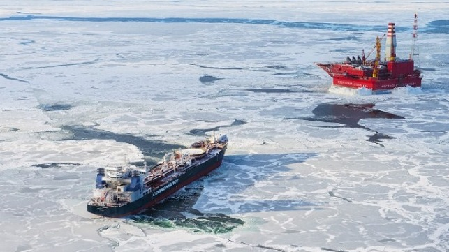 Arctic shuttle tanker Mikhail Ulyanov equipped with ABB's RDS system, by the Prirazlomnaya offshore platform