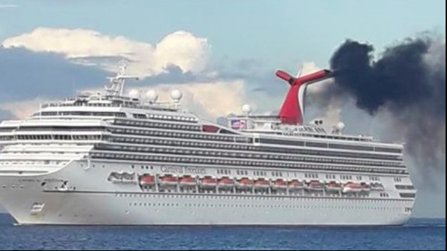 Cruise Ship Emits Black Smoke