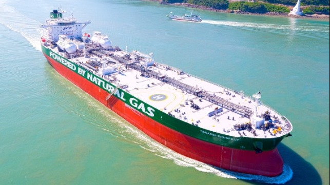 Gagarin Prospect, the world's first Aframax tanker designed to run on LNG, is one of 40 dual-fuelled ships already delivered or under construction at HHI Group. The DNV GL classed vessel is owned by leading Russian ship operator Sovcomflot and was honoured, amongst others, with the Nor-Shipping 2019 Next Generation Ship Award (Image courtesy of HHI Group).