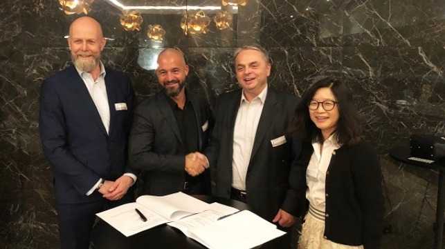 From left: Poul Knudsgaard, Head of Four Stroke Denmark, Jan Zebitz, Head of Aft Ship & Propeller, Stjepan Kucifer, Managing Director MAN ES China Production, and Kui Xi, CFO MAN ES Shanghai China
