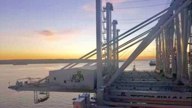 Giant container cranes are en route to Port of Oakland