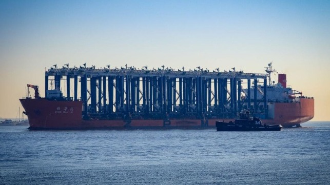 Fifteen hybrid RTG cranes sailed into Charleston today, headed for the Leatherman Terminal. In the distance, ship-to-shore cranes work vessels at Wando Welch Terminal. (Photo/SCPA/English Purcell)