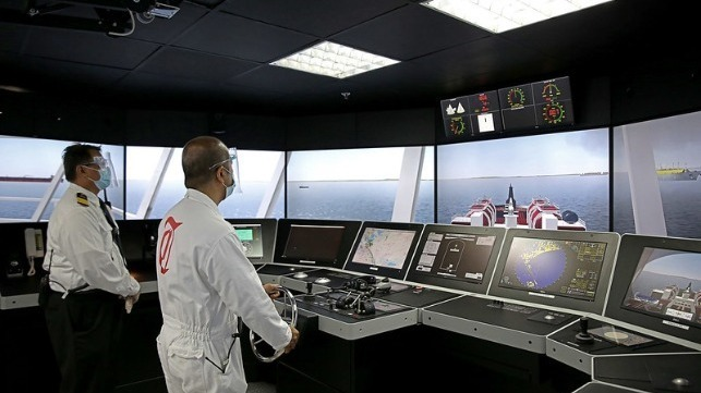 At the controls of Thome's new navigation bridge simulator
