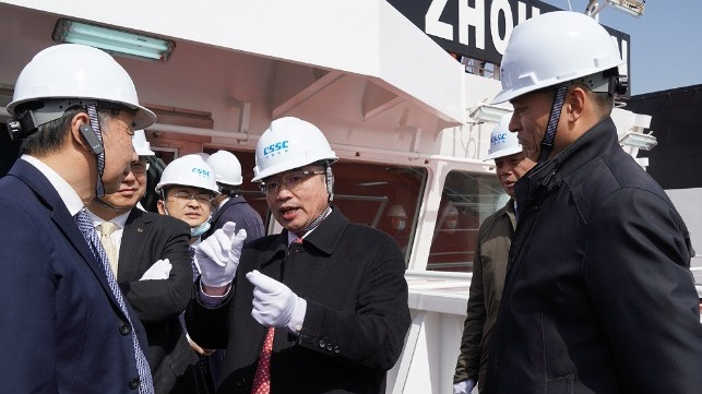 CCS president Mo Jianhui at naming ceremony for Ore Zhoushan