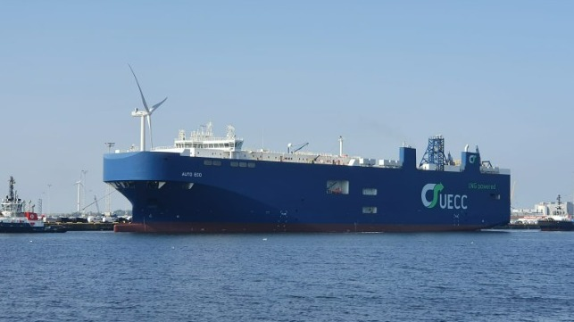 UECC's dual-fuel LNG PCTC Auto Eco was one of the first such vessels to be brought  into operation. Photo: UECC
