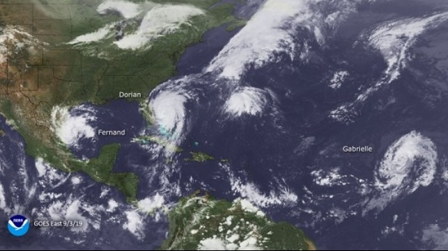 NOAA's GOES-East satellite captured these three hurricanes in the Gulf and Atlantic waters on September 3, 2019: From left to right we have Fernand, Dorian and Gabrielle.