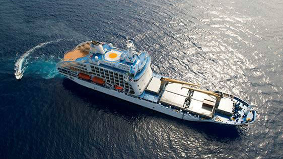 New Container Cruise Ship Sails South Pacific