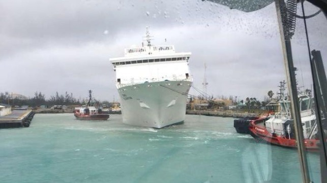 Cruise Ship Strikes Pier In Freeport