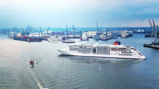 Europa 2 cruise ship certified for long-term use of cold ironing reducing emissions while idle in Hamburg