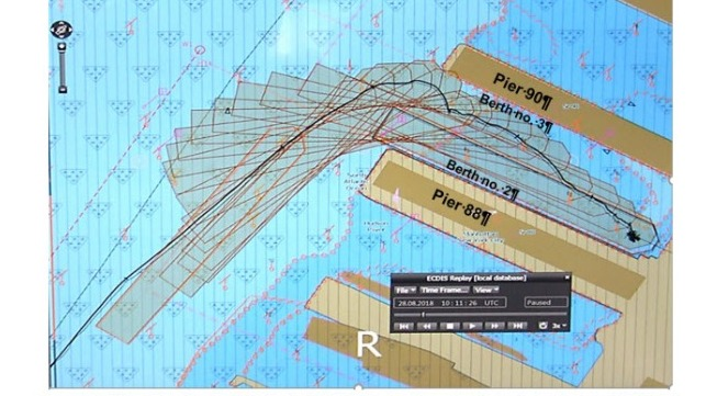 Screenshot from the Carnival Horizon's ECDIS, showing the vessel's track beginning at 0539 and ending at 0611.