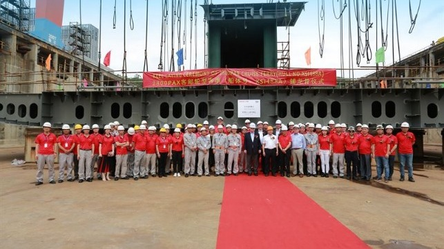 Keel laying ceremony for Viking Glory