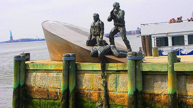 American Merchant Mariners Memorial in Battery Park, New York City. Bronze sculpture by Marisol Escobar.