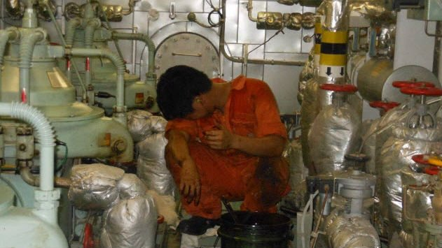 man in engine room