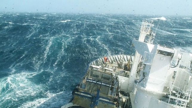 A research vessel ploughs through the waves, braving the strong westerly winds of the Roaring Forties in the Southern Ocean.  Credit: Nicolas Metzl, LOCEAN/IPSL Laboratory