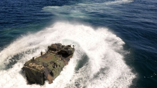 Marine Corps AAV launching from an amphib (file image courtesy USN)