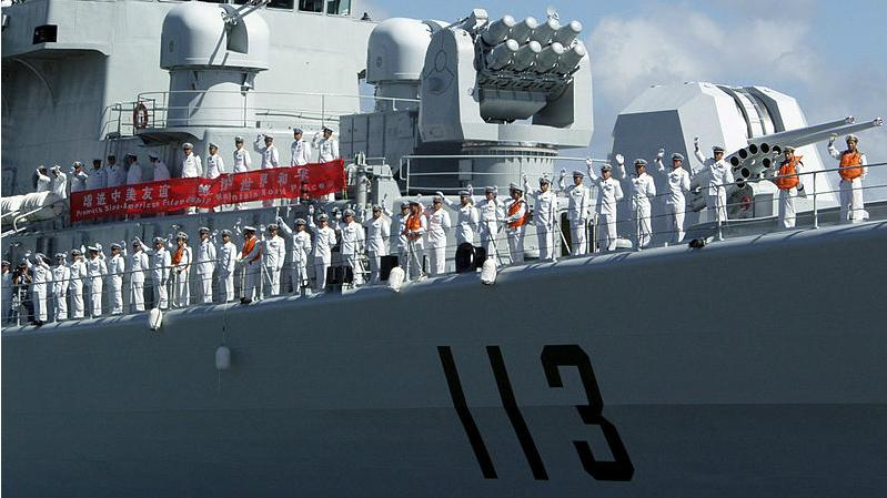 Sailors on Chinese Navy destroyer