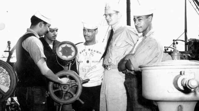 Undated photo of Cmdr. Carlton Skinner aboard the USS Sea Cloud along with several African American crewmembers.