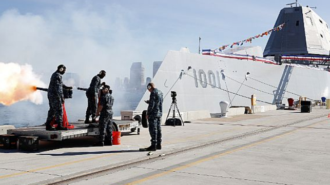 Sailors assigned to the Naval Base Coronado security department fire a 19-gun salute during the commissioning ceremony for the Zumwalt-class guided-missile destroyer USS Michael Monsoor (DDG 1001).