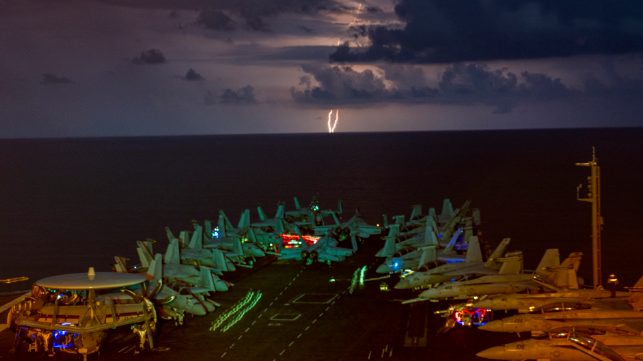 carrier operations on nimitz with lighting strike in south china sea