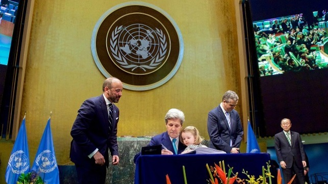 Signing of the Paris Agreement by John Kerry in United Nations General Assembly Hall for the United States