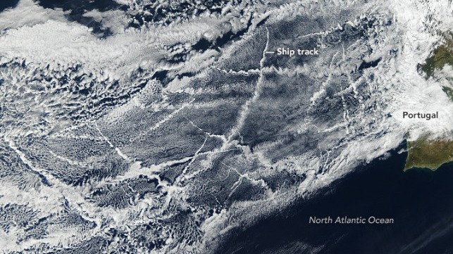 Ship Tracks credit NASA