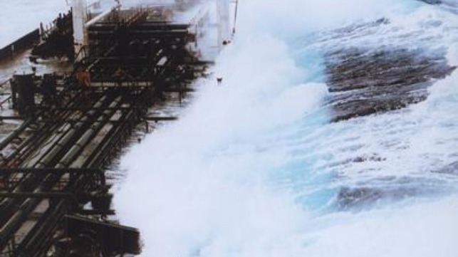 60-foot wave hitting tanker off Alaska. Credit: Captain Roger Wilson/NOAA