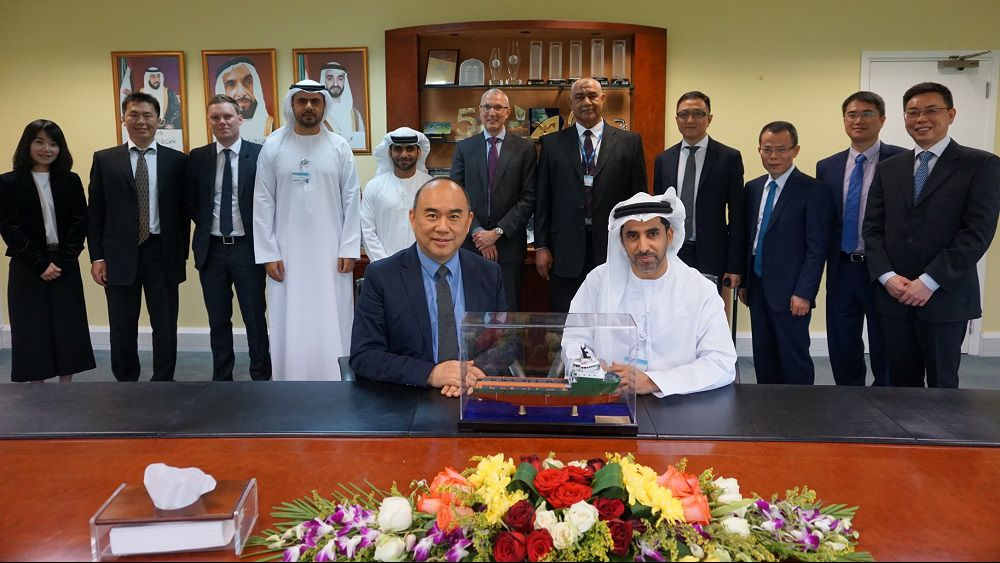 Mr. Dagher Al Marar, CEO of ESNAAD and Mr. Simon Liang, Chairman and CEO of Sinopacific Shipbuilding Group at signing ceremony
