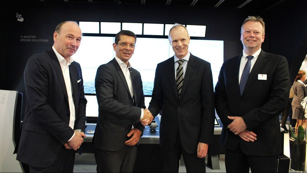 ictured at the Kongsberg Maritime stand at Nor-Shipping 2015 are Erik Gjerdene, Executive Director Norwegian Shipowners' Association; Geir Håøy, President, Kongsberg Maritime; Sturla Henriksen, CEO Norwegian Shipowners' Association; Stene Førsund, Executive Vice President Global Sales and Marketing, Kongsberg Maritime