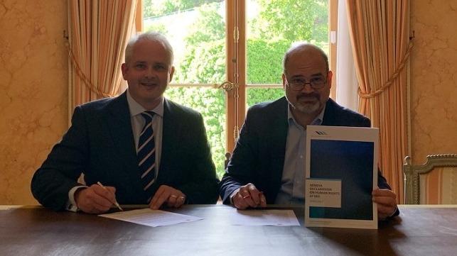 Founder of Human Rights at Sea, David Hammond (left) and Mayor of Geneva, Sami Kanaan (right).
