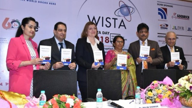 (from left to right) WISTA India President Sanjam Sahi Gupta; Director and Principal Anglo-Eastern Maritime Training Centre Capt. Deboo; WISTA International President Despina Panayiotou Theodosiou; Director General of Shipping in India Dr. Malini Shankar; Chairman Shipping Corporation of India Capt. Anoop Kumar Sharma; WISTA International Brand Ambassador Anil Singh