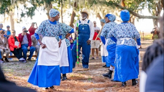 "The Geechee Gullah Ring Shouters, from coastal Georgia, perform during ceremonies opening the new ""Wanderer Memory Trail"" Nov. 17 on Jekyll Island."