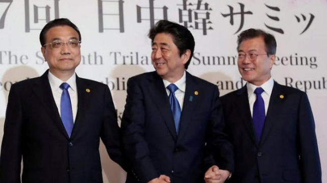 Li Keqiang, Shinzo Abe and Moon Jae-in