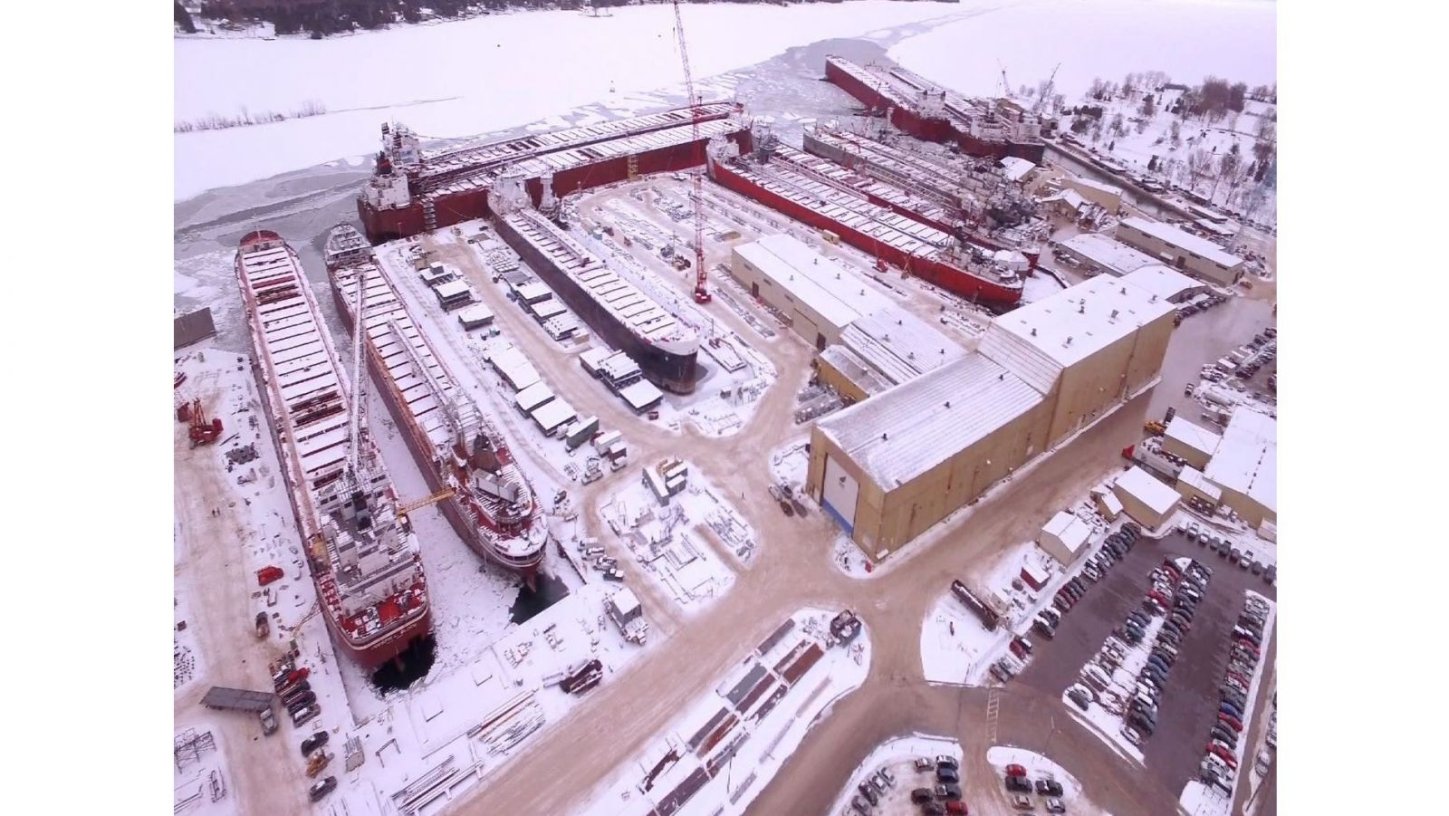 aerial view of Fincantieri Bay Shipbuilding of Sturgeon Bay