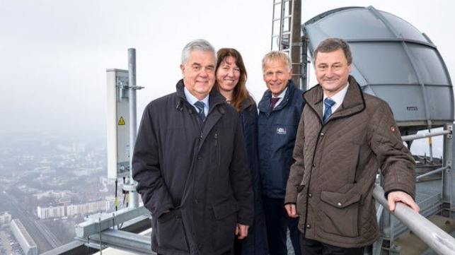 Frank Horch, State Minister for Economics, Free and Hanseatic City of Hamburg; Antje Williams, Telekom 5G Executive Program Manager; Jens Meier, CEO Hamburg Port Authority and Wilhelm Dresselhaus, Member NOKIA-management on Hamburg?s television tower where the 5G antennas are installed.