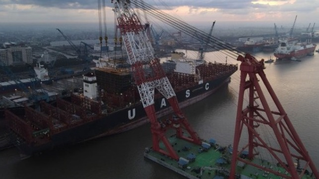 first large containership being retrofitted for LNG power