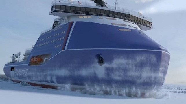 The Leader nuclear icebreaker as envisioned in a promotional video. Credit: Rosatom