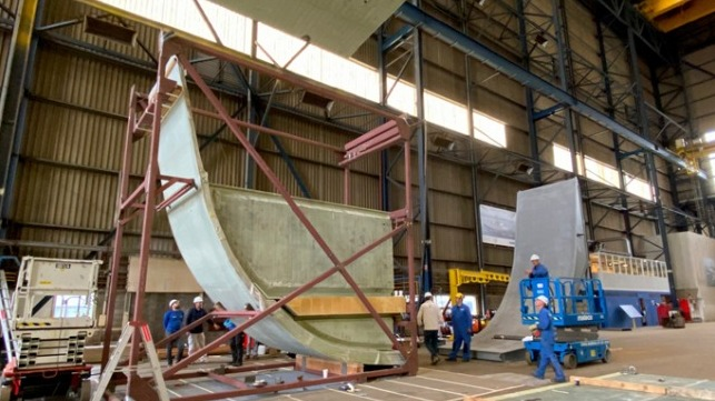 demonstration of assembled full-scale section of a ship's hull made of sustainable composite materials