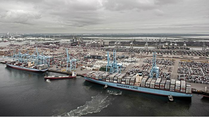 Maersk container ship at port