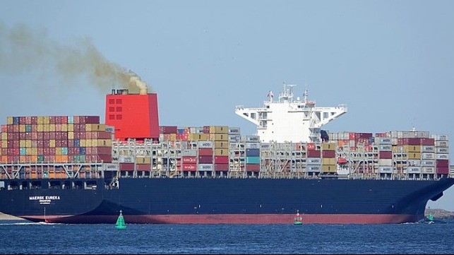Maersk containership stopped in Pacific