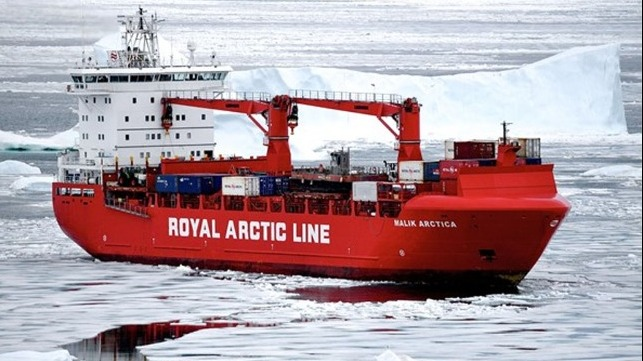vessel trapped off Greenland in polar ice flows