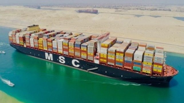MSC Gulsun transits the Suez Canal
