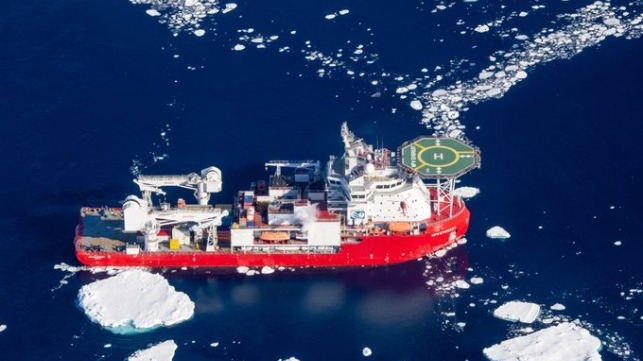 fire-damaged vessel returningfrom Antarctica