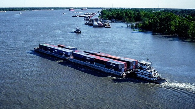 Containers on barge service participating in carbon offset program