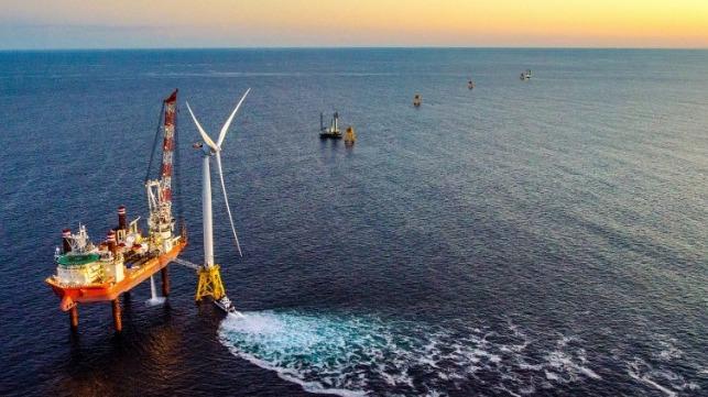 Block Island wind farm installation