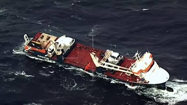 abandoned Dutch heavy-lift vessel in storm off Norway